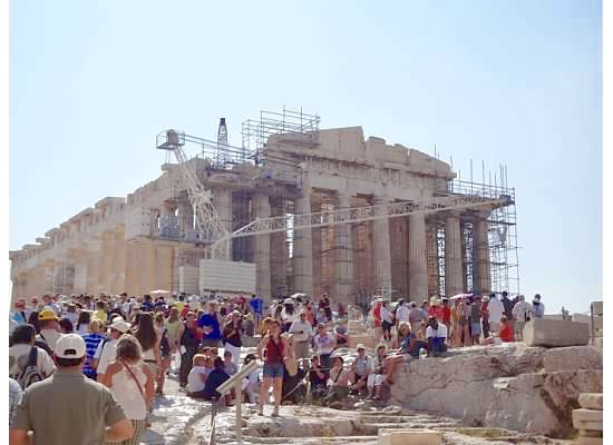 scaffolding on the Parthenon in Athens Greece - an excerpt from Musing Mediterranean
